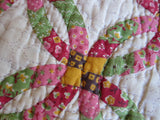Vintage Handmade Patchwork Wedding Ring Quilt - Yesteryear Essentials  - 3