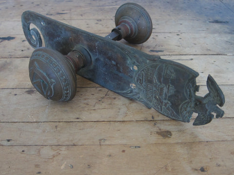 Antique Civil War Era Brass Strike Plate & Door Knobs -The Union Yale & Town - Yesteryear Essentials  - 1