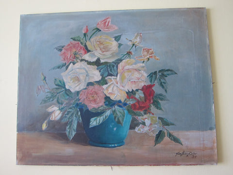 Oil On Canvas Flower Still Life by George Henry Oilar (1944) - Yesteryear Essentials  - 1