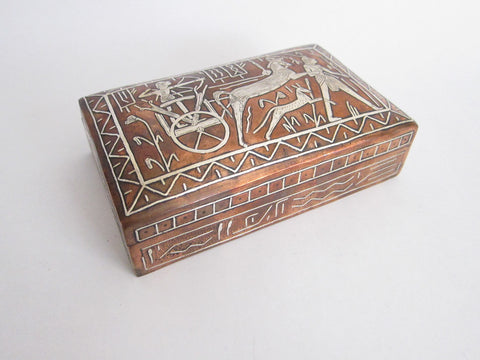 Vintage Copper and White Metal Jewelry Box - Yesteryear Essentials  - 1