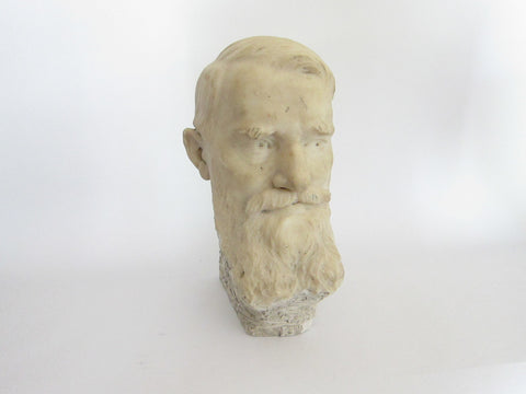 Vintage Carved Male Bust Sculpture - George Bernard Shaw - Yesteryear Essentials  - 1