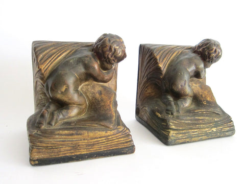 Pair of 1920s Bronze Clad Decorative Bookends by A Johnson - Yesteryear Essentials  - 1