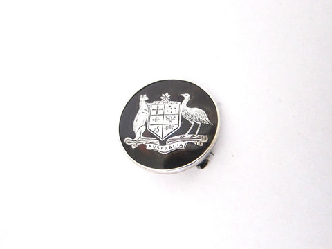 Vintage Faux Tortoise Shell Silver Australian Coat of Arms Lapel Pin Badge - Yesteryear Essentials  - 1