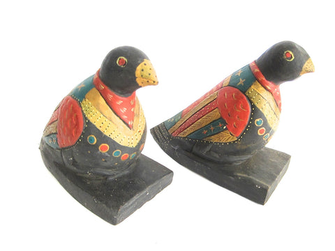 Decorative Folk Art Wooden Bird Bookends - Yesteryear Essentials  - 1