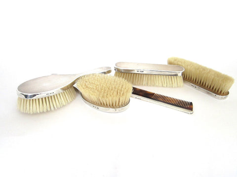 Sterling Silver British Vanity Set Silver Hallmarks Brushes 5 piece - Yesteryear Essentials  - 1