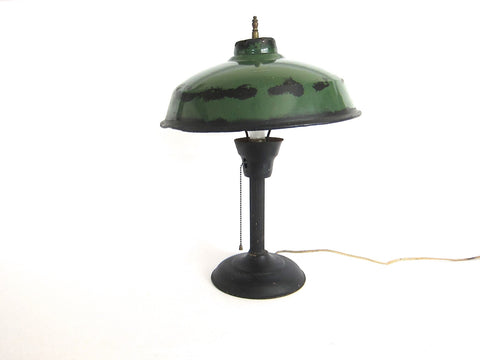 Vintage Green Metal Industrial Table Lamp - Yesteryear Essentials  - 1