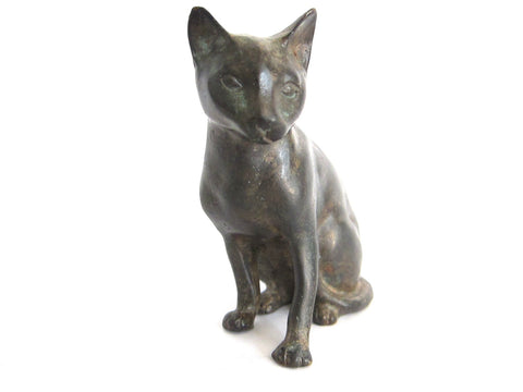 Vintage Bronze Sculpture of a  Seated Cat - Yesteryear Essentials  - 1