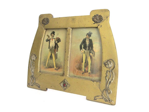 Art Nouveau Wood & Sterling Silver Double Picture Frame - Yesteryear Essentials  - 1