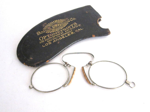 Vintage Pince Nez Glasses with Leather Case - Yesteryear Essentials  - 1