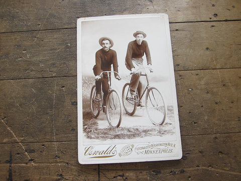 Vintage Cabinet Card Photo of Gentleman on Bicycles - Yesteryear Essentials  - 1