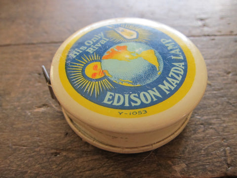 Vintage Advertising Edison Mazda Lamp Measuring Tape - Yesteryear Essentials  - 1