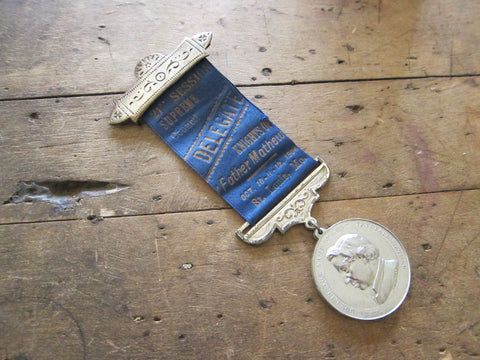 Antique Knights of Father Mathew Ribbon and Medal - Yesteryear Essentials  - 1