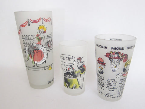 Vintage 1940s Pinup Girl Cocktail Shakers & Glass Signed D Marj - Yesteryear Essentials  - 1