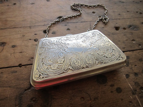 Antique Sterling Silver Engraved Purse - Yesteryear Essentials  - 1