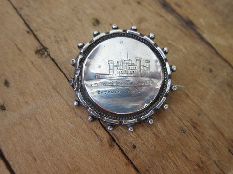 Antique Sterling Silver Eastnor Castle Pinback Button - Yesteryear Essentials  - 1