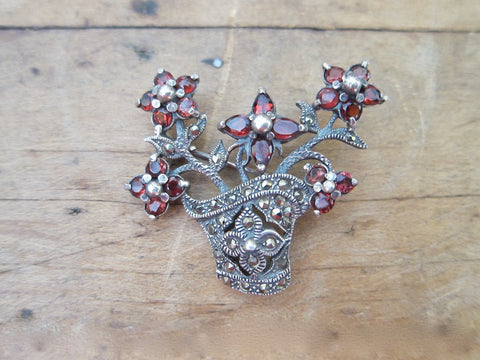 Antique Sterling Silver 925 Garnet Flower Brooch - Yesteryear Essentials  - 1