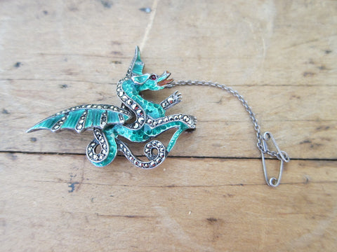 Antique Sterling Silver Green Enamel Dragon Brooch - Yesteryear Essentials  - 1