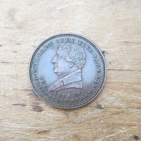 Antique  Father Mathew Temperance Movement Coin - Yesteryear Essentials  - 1
