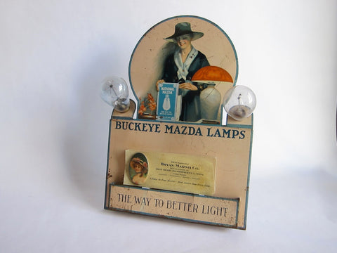 Vintage Advertising, National Mazda Buckeye Mazda Lamps Metal Display Advertising - Yesteryear Essentials  - 1