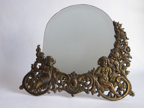 Antique Brass Cherub Vanity Mirror - Yesteryear Essentials  - 1