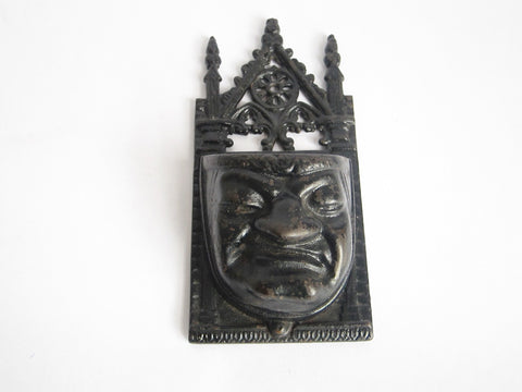 Victorian Cast Iron Grumpy Face Match Holder - Yesteryear Essentials  - 1