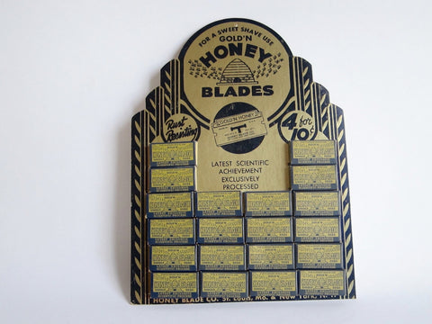 Vintage Advertising Shaving Blades Gold'N Honey Store Display - Yesteryear Essentials  - 1