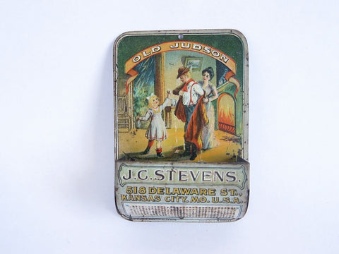Vintage Advertising Old Judson Whiskey J C Stevens Match Holder - Yesteryear Essentials  - 1