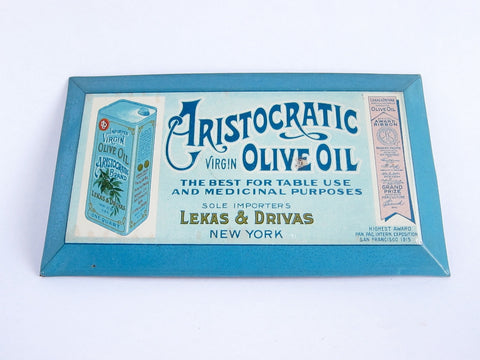 Vintage Advertising Aristocratic Virgin Olive Oil Metal Sign - Yesteryear Essentials  - 1