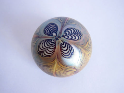 Vintage Art Glass Iridescent 1976 Orient & Flume Paperweight - Yesteryear Essentials  - 1