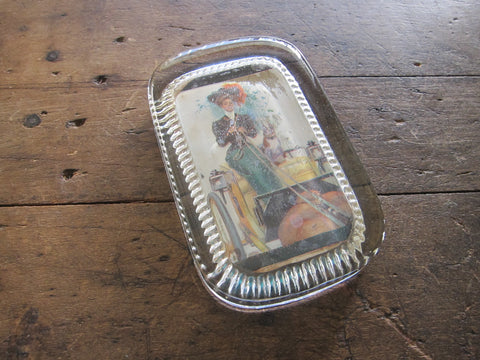 Antique Glass Paperweight with Picture of Lady - Yesteryear Essentials  - 1