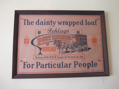 Vintage Schlags Bakery Pony Express Bread Advertising Poster - Yesteryear Essentials  - 1