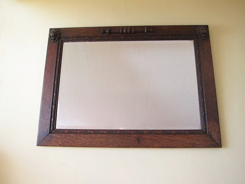 Antique Wooden Framed Beveled Glass Mirror -  English Oak Lions head - Yesteryear Essentials  - 1