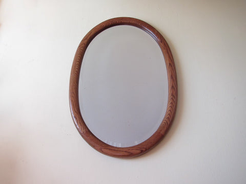 Vintage Mirrors, Wall Mirrors, Wooden Framed Bevelled Glass Large Oval Mirror - Yesteryear Essentials  - 1