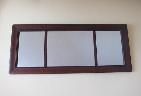 Antique Wooden Framed Long Triptych Hall Mirror - Yesteryear Essentials  - 1