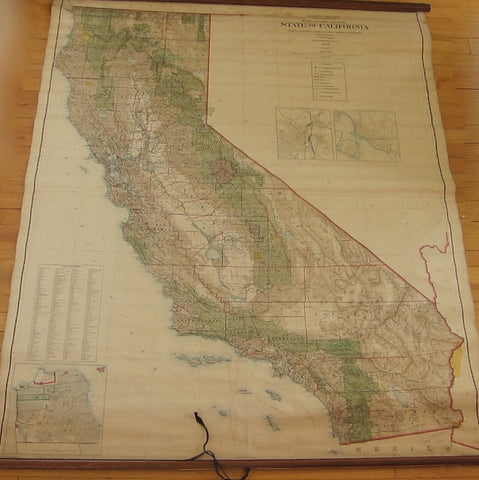 1907 A Dinsmore State of California Hanging Wall Map - Yesteryear Essentials  - 1