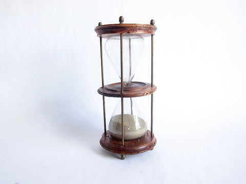 Antique Wooden Hourglass Timer - Yesteryear Essentials  - 1