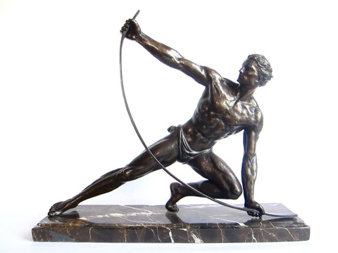 "Art Deco Bronze Sculpture ""Le Bendeur' by Jean de Roncourt - Yesteryear Essentials  - 1"