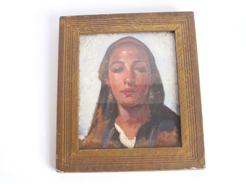 Antique Oil on Copper Portrait Painting of Lady by Simone - Yesteryear Essentials  - 1