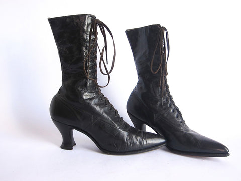 Victorian Boots by Polly Preston - Womens Lace Up Boots Size 6 / 6.5 - Yesteryear Essentials  - 1