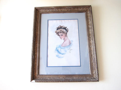 Vintage Harrison Fisher Girl Signed Painting - Yesteryear Essentials  - 1