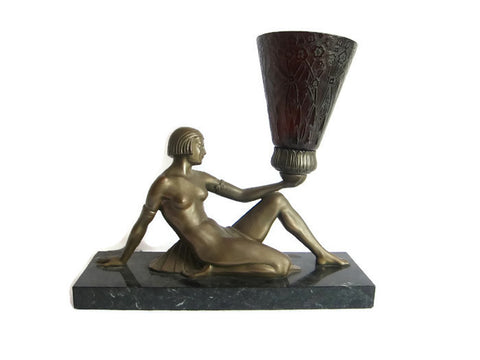 Art Deco Bronzed Spelter Reclining Semi Nude Female Figural Lamp - Yesteryear Essentials  - 1