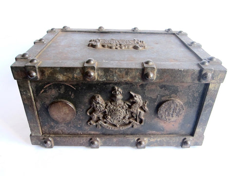 Victorian French Cast Iron Bound Strong Box by Bauche Brevete - Yesteryear Essentials  - 1