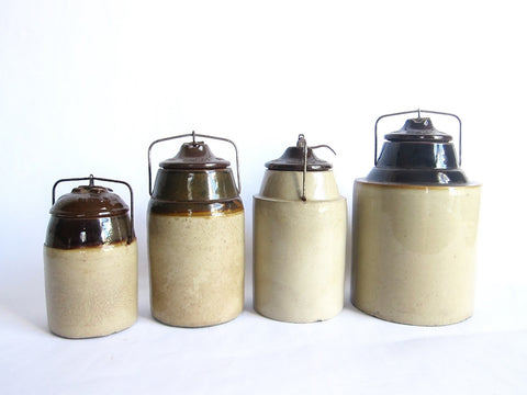 Set of 4 Antique Earthenware Storage Jars by The Weir Company - Yesteryear Essentials  - 1