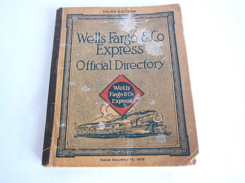 1916 Official Employee Directory for Wells Fargo - Yesteryear Essentials  - 1