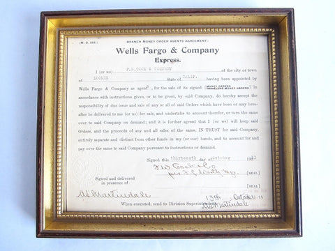 1911 Wells Fargo Branch Money Order Agents Agreement - Yesteryear Essentials  - 1