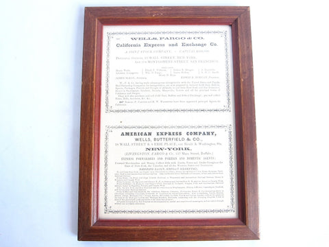 1852 Wells Fargo Framed Original Advertisement - Yesteryear Essentials  - 1
