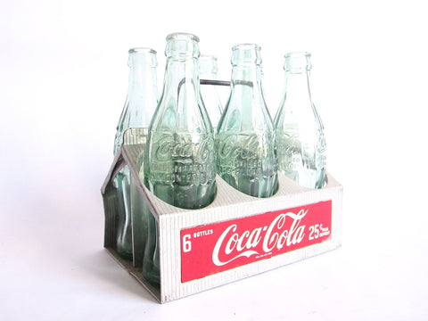 Vintage Aluminum Coca Cola Tray and Bottles - Yesteryear Essentials  - 1