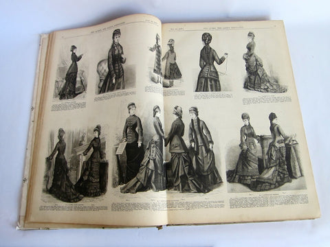 "1877 Hardcover Magazine ""The Queen"" - The Ladys Newspaper - Yesteryear Essentials  - 1"