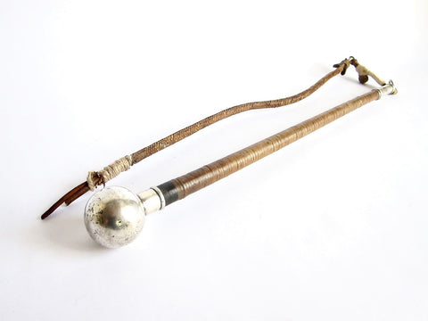 Antique Silver Ball Leather Horse Riding Caballeros Whip - Yesteryear Essentials  - 1