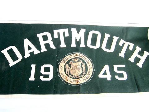 Vintage 1945 Dartmouth Green Felt Banner - Yesteryear Essentials  - 1